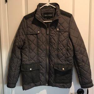 Slate Grey Quilted Coat. Oak & Rush - Size Large